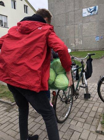 На осенней сельскохозяйственной ярмарке волонтёр движения БРСМ,учащийся 9В класса Мачек Эльдар, оказывал помощь людям с доставкой фруктов и овощей до дома и машины.